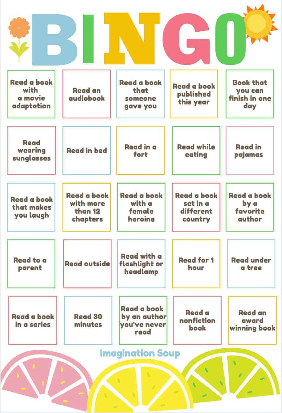 Summer Reading Bingo from Imagination Soup