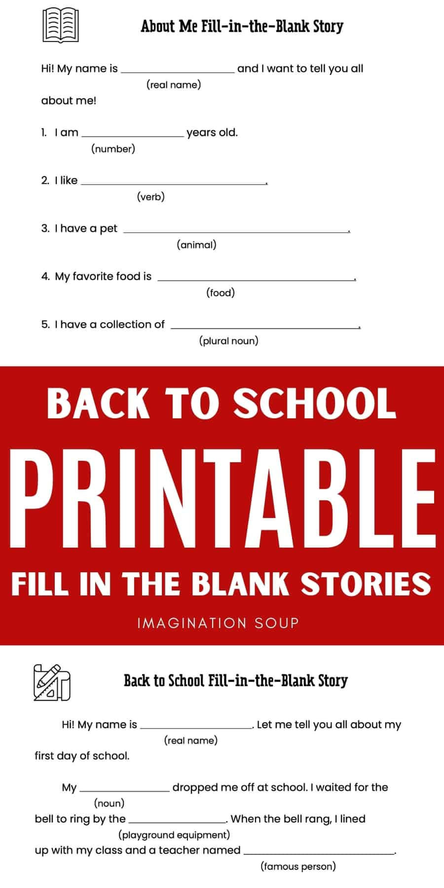 back to school fill in the blank printable stories & Mad Libs